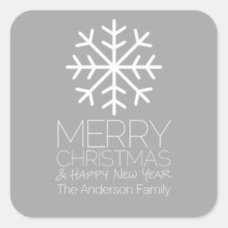 Modern Merry Christmas Snowflake - silver gray Sticker