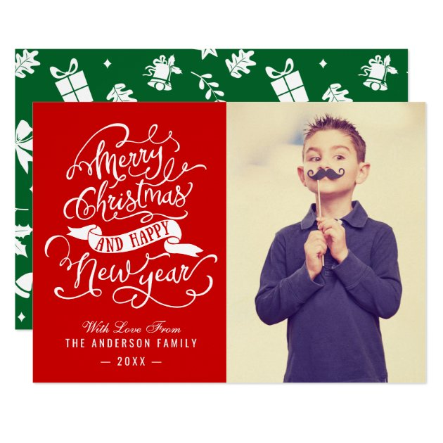 Modern Merry Christmas Typography Greeting Photo Card