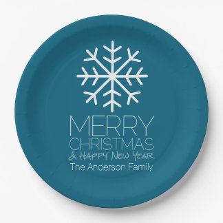 Modern Merry Christmas Winter Snowflake - blue Paper Plate