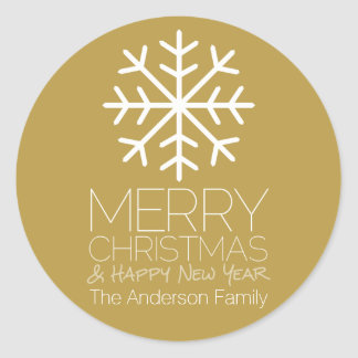 Modern Merry Christmas Winter Snowflake - gold Round Stickers