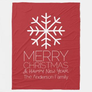 Modern Merry Christmas Winter Snowflake - red Fleece Blanket