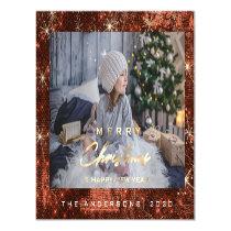 Modern Merry Holiday Photo Gold Spark Bronze Honey Magnetic Invitation