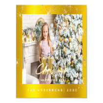 Modern Merry Holiday  Photo Gold Spark Name Magnetic Invitation
