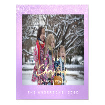 Modern Merry Holiday Photo Gold Spark Purple White Magnetic Invitation