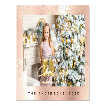 Modern Merry Holiday  Photo Gold Spark Rose Magnetic Invitation