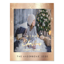 Modern Merry Holiday Photo Gold Spark Rose Sparkly Magnetic Invitation