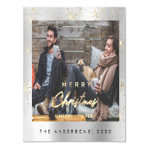 Modern Merry Holiday  Photo Gold Spark Silver Gray Magnetic Invitation