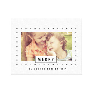 Modern Merry Holiday Photo Wrapped Canvas