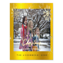 Modern Merry Holiday Snowflakes Photo Gold Lux Magnetic Invitation
