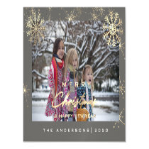 Modern Merry Holiday Snowflakes Photo White Gray Magnetic Invitation