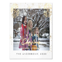 Modern Merry Holiday Snowflakes Photo White Magnetic Invitation