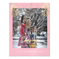 Modern Merry Holiday Snowflakes Photo White Pink Magnetic Invitation