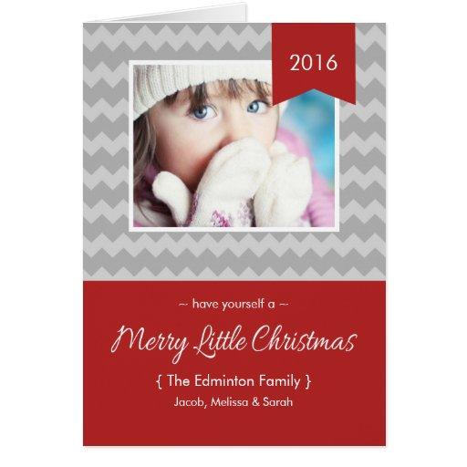 Modern Merry Little Christmas Chevron Holiday Card