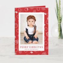 Modern Merry | Red | Vertical Photo Holiday Card