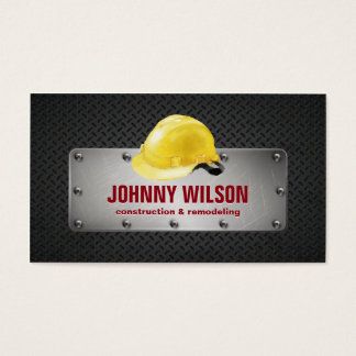 Modern Metal Plate Safety Helmet Construction Business Card