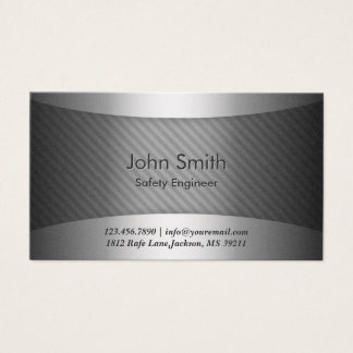 Modern Metal Safety Engineer Business Card