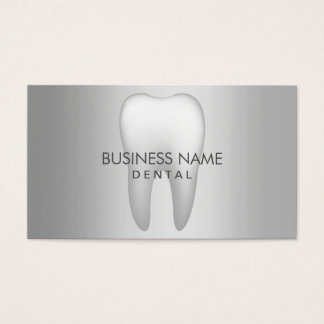 Modern Metal Silver Dental Appointment Business Card
