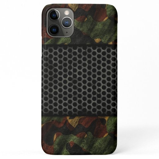 Modern Metallic Camouflage and Steel Grate iPhone 11 Pro Max Case