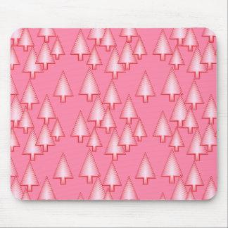 Modern metallic Christmas trees - coral pink Mouse Pad