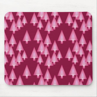 Modern metallic Christmas trees - pink & wine Mouse Pad
