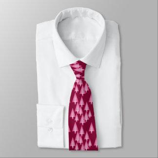 Modern metallic Christmas trees - pink & wine Neck Tie