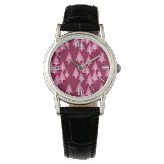 Modern metallic Christmas trees - pink & wine Wrist Watch