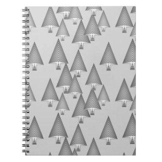 Modern metallic Christmas trees - silver grey Spiral Notebook