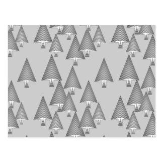 Modern metallic Christmas trees - silver grey Postcard