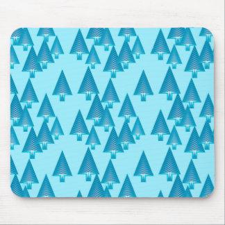 Modern metallic Christmas trees - sky blue Mouse Pad