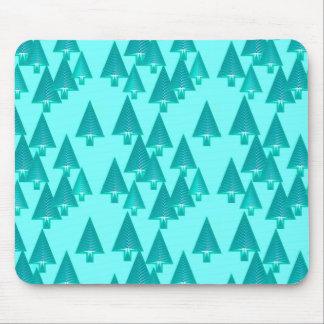 Modern metallic Christmas trees - turquoise Mouse Pad