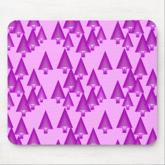 Modern metallic Christmas trees - violet Mouse Pad