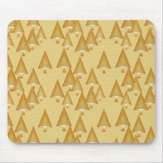 Modern metallic Christmas trees - yellow gold Mouse Pad