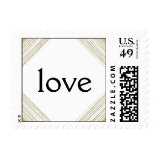 Modern Metallic Gold Hatch Wedding Love Stamp