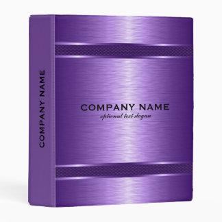 Modern Metallic Purple Texture Geometric Design Mini Binder