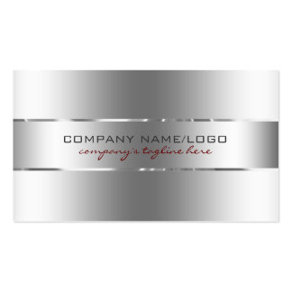 Modern Metallic Silver Design Stainless Steel Look Double-Sided Standard Business Cards (Pack Of 100)
