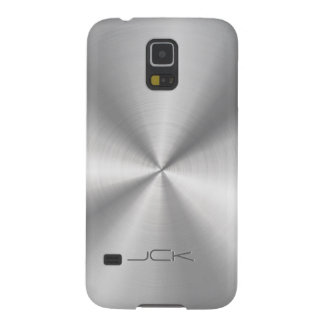Modern Metallic Silver-Gray Stainless Steel Look Galaxy S5 Cases