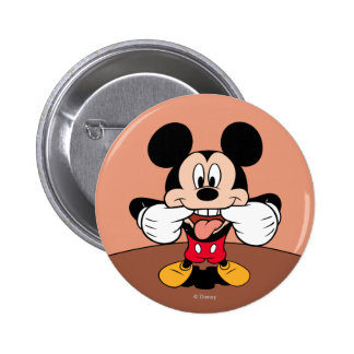 Modern Mickey | Sticking Out Tongue Pinback Button