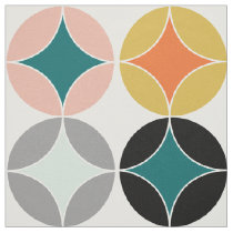 Modern Mid Century Big Circles Repeat Patterned Fabric