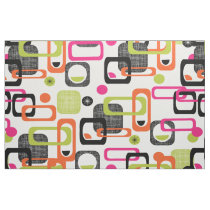 Modern Mid Century Funky Geometric Pattern Fabric