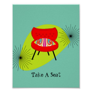 Modern Mid Century Retro Style Chair Illustration Poster
