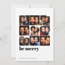 Modern Minimal 9 Photo Be Merry Holiday Photo