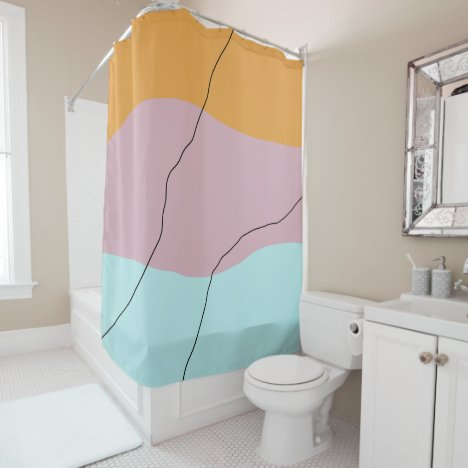 Modern minimal abstract geometric colorful pattern shower curtain