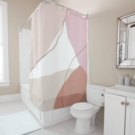 Modern minimal abstract geometric pastel colors shower curtain