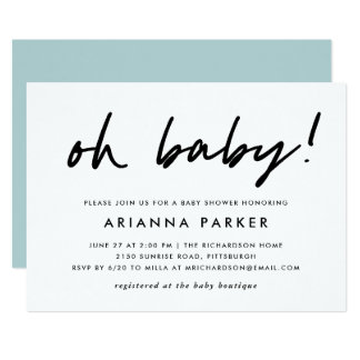 Modern Minimal Baby Shower | Blue Invitation