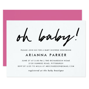 5962a86d Pink And Black Baby Shower Invitations | Zazzle
