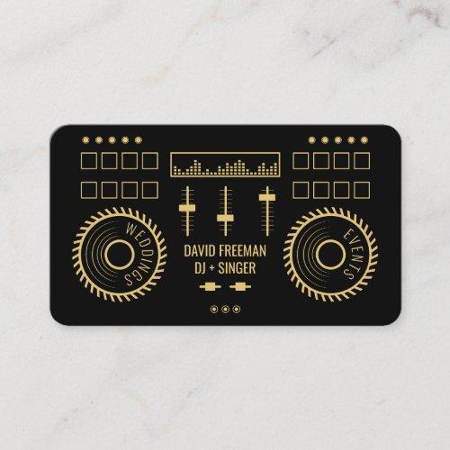 Modern minimal black and gold dj music turntable business card
