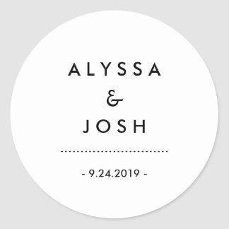 Modern Minimal Black and White Wedding Classic Round Sticker