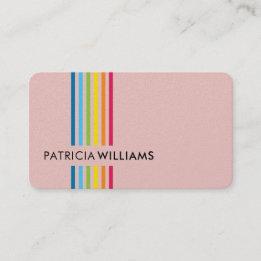 MODERN MINIMAL colorful simple rainbow stripe pink Business Card