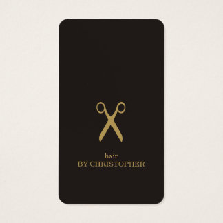 Modern Minimal Dark Faux Gold Hair Stylist Business Card