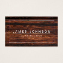 MODERN & MINIMAL DARK WOOD - CONSTRUCTION BUSINESS CARD